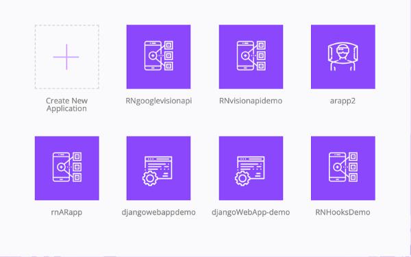 Crowdbotics dashboard with Create New Application icon