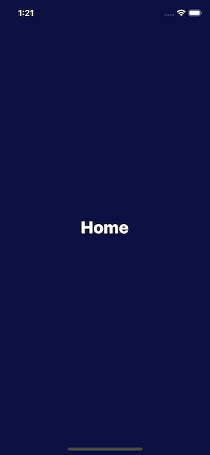 """Default home screen displaying the text """"Home"""""""