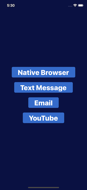 App home page displaying native app links