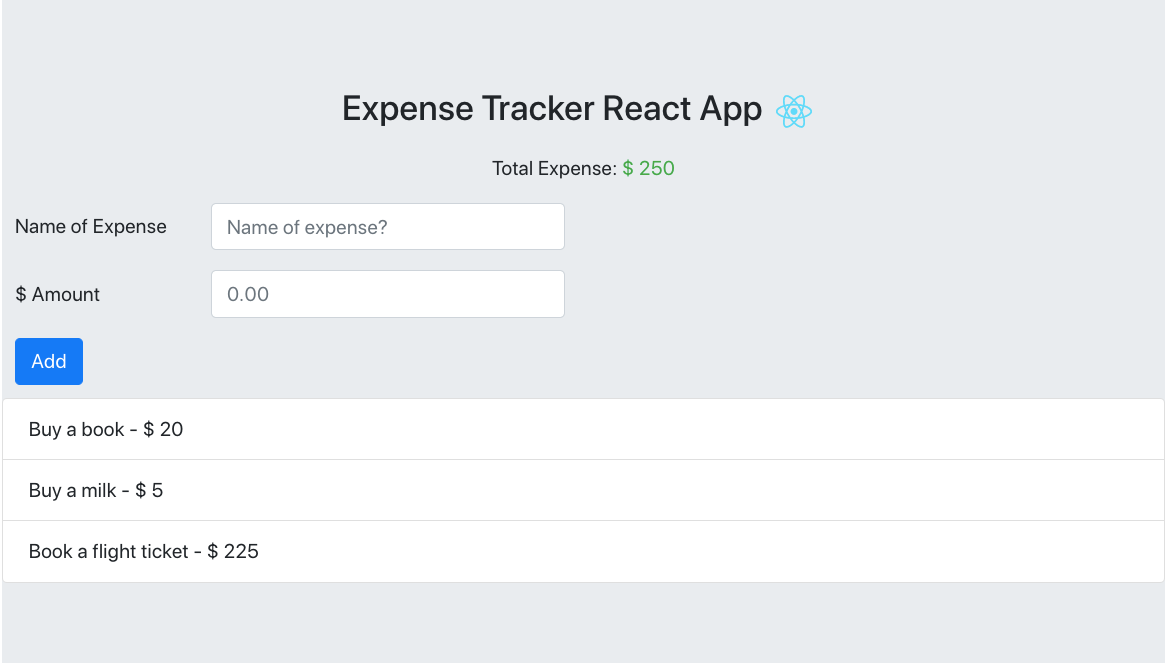 Expense tracker app with itemized expenses