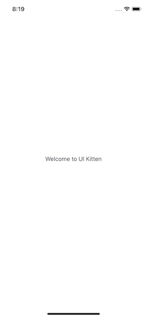 """Blank app screen with the text """"Welcome to UI Kitten"""""""