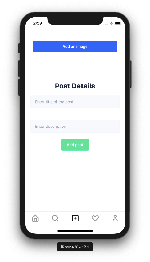 iPhone with post uploader fields and submit button