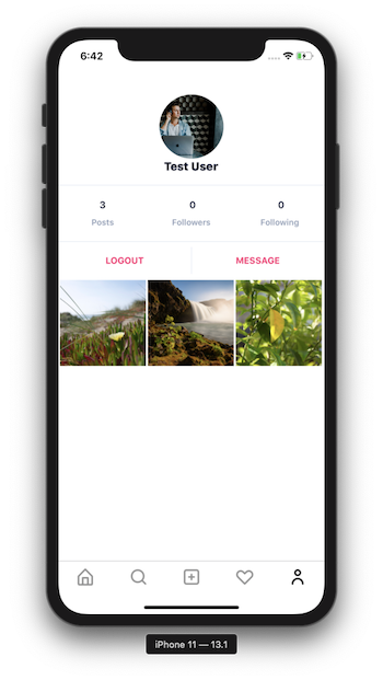 The app now has a photo grid with three images