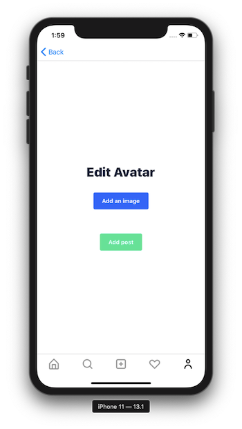 An avatar editor page with the option to upload an image or post