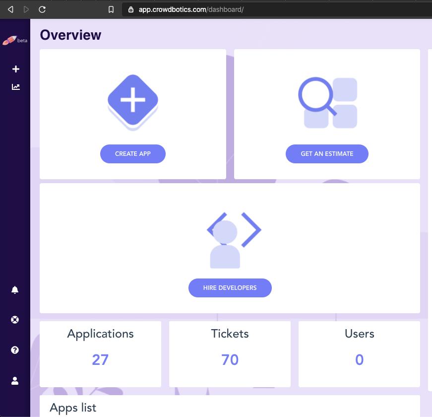 Crowdbotics Overview page