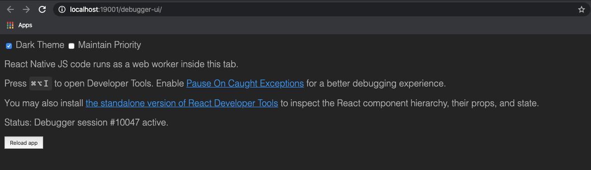 Default debugger UI message