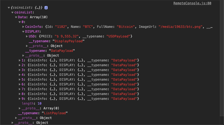 JSON objects from the API are visible