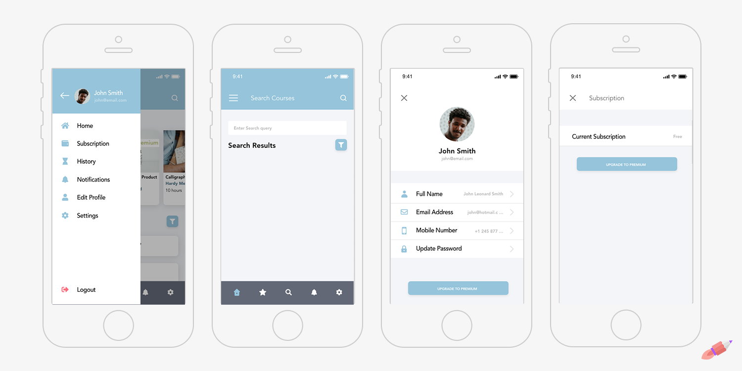 Navigation Menu, Search, Profile, and Subscription Screens in the Crowdbotics Course Management Blueprint