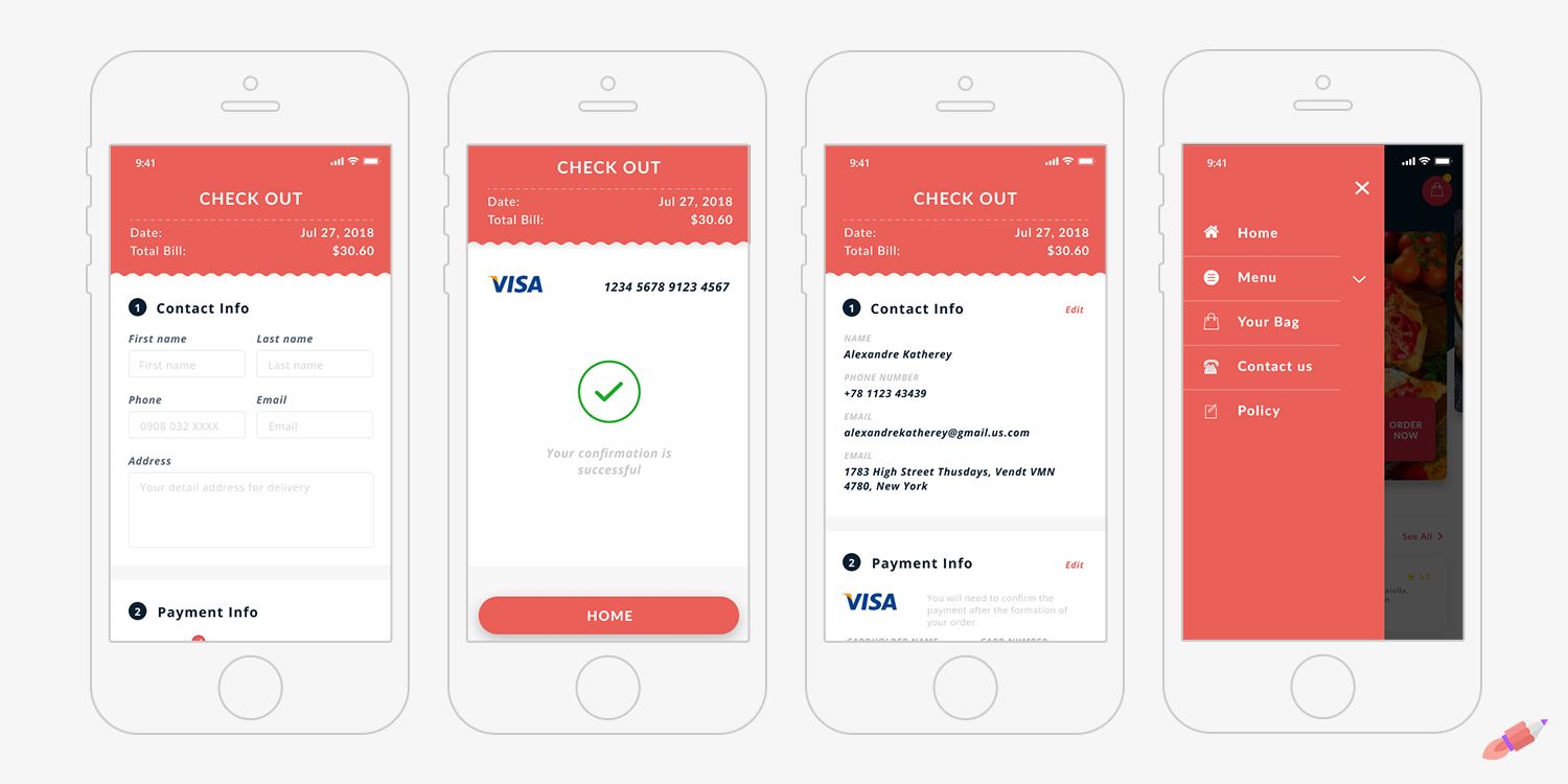 Checkout, Payment, Receipt, and Navigation screens in the Crowdbotics Delivery Blueprint
