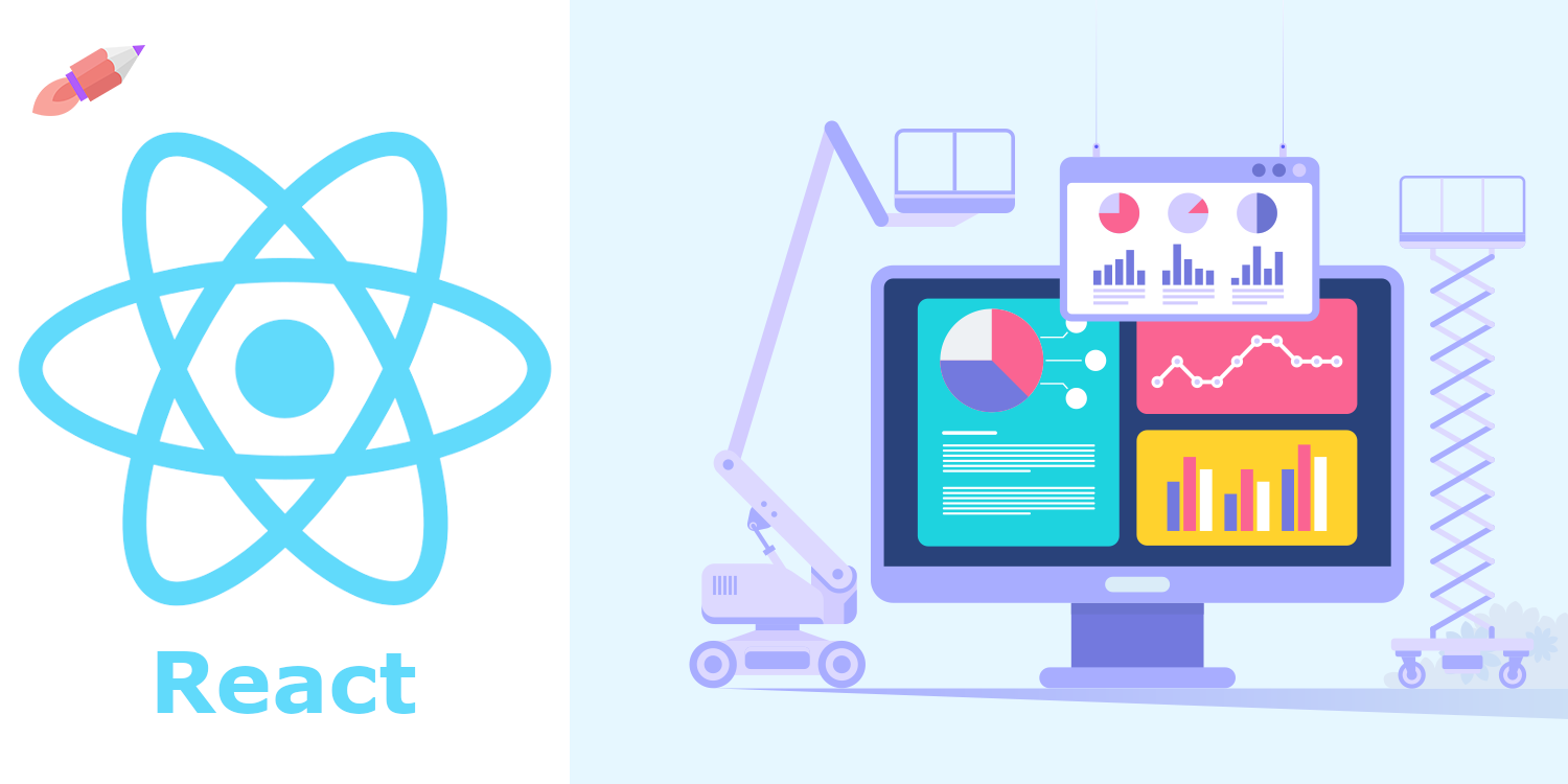 Image of a computer under construction next to the React logo