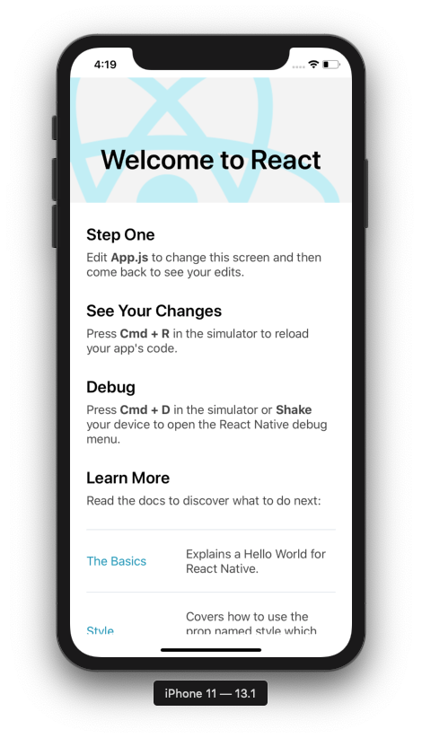 A default React Native app displayed on an iPhone