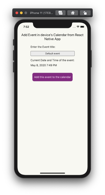 Interface for adding an event to the calendar