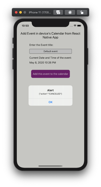 Canceling the event creation triggers an alert