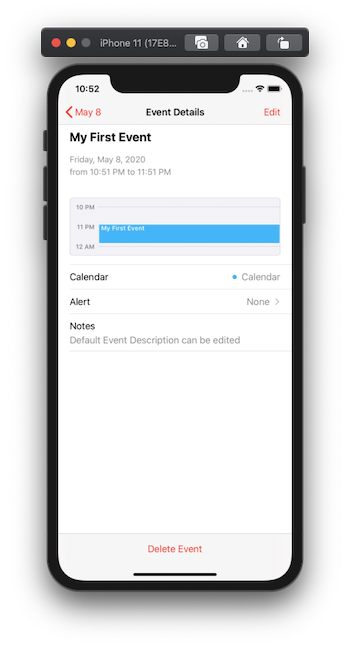 Calendar event has been added to the mobile device calendar