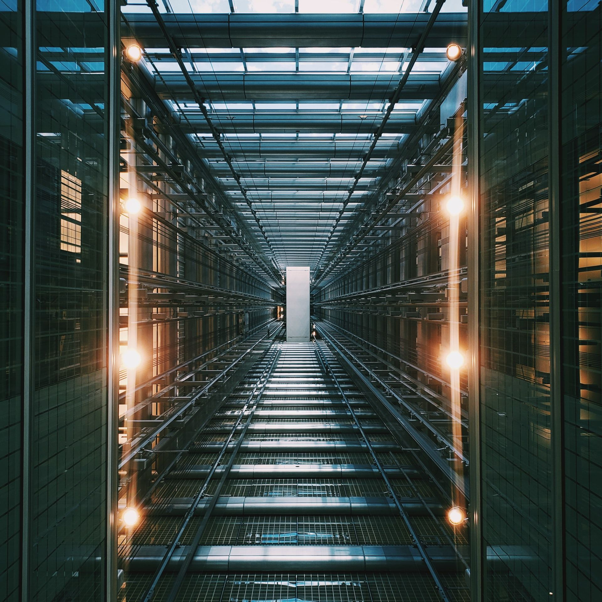 Corridor of a large server room where server-side code is stored.