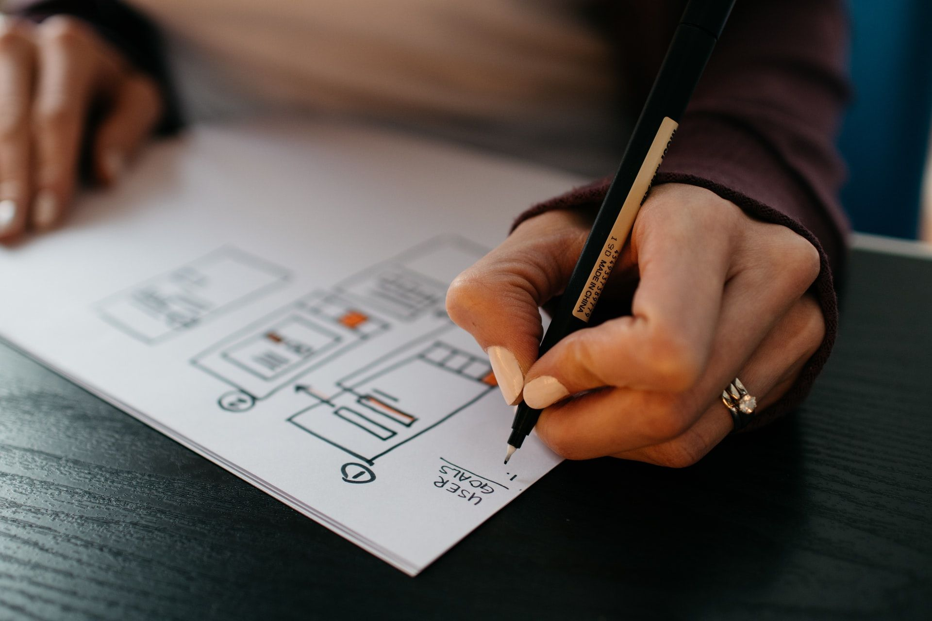 A woman sketching out an intricate mobile app wireframe.