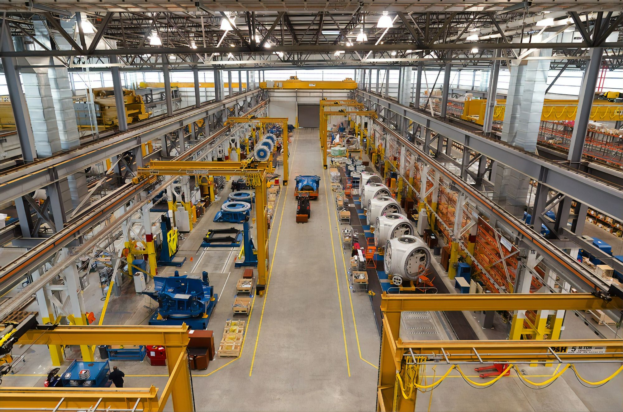 An elevated view of a manufacturing facility full of parts.