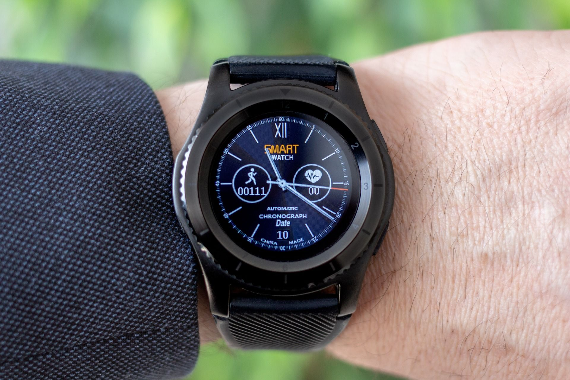 A smart watch that shows heart rate and how many steps the wearer has walked.