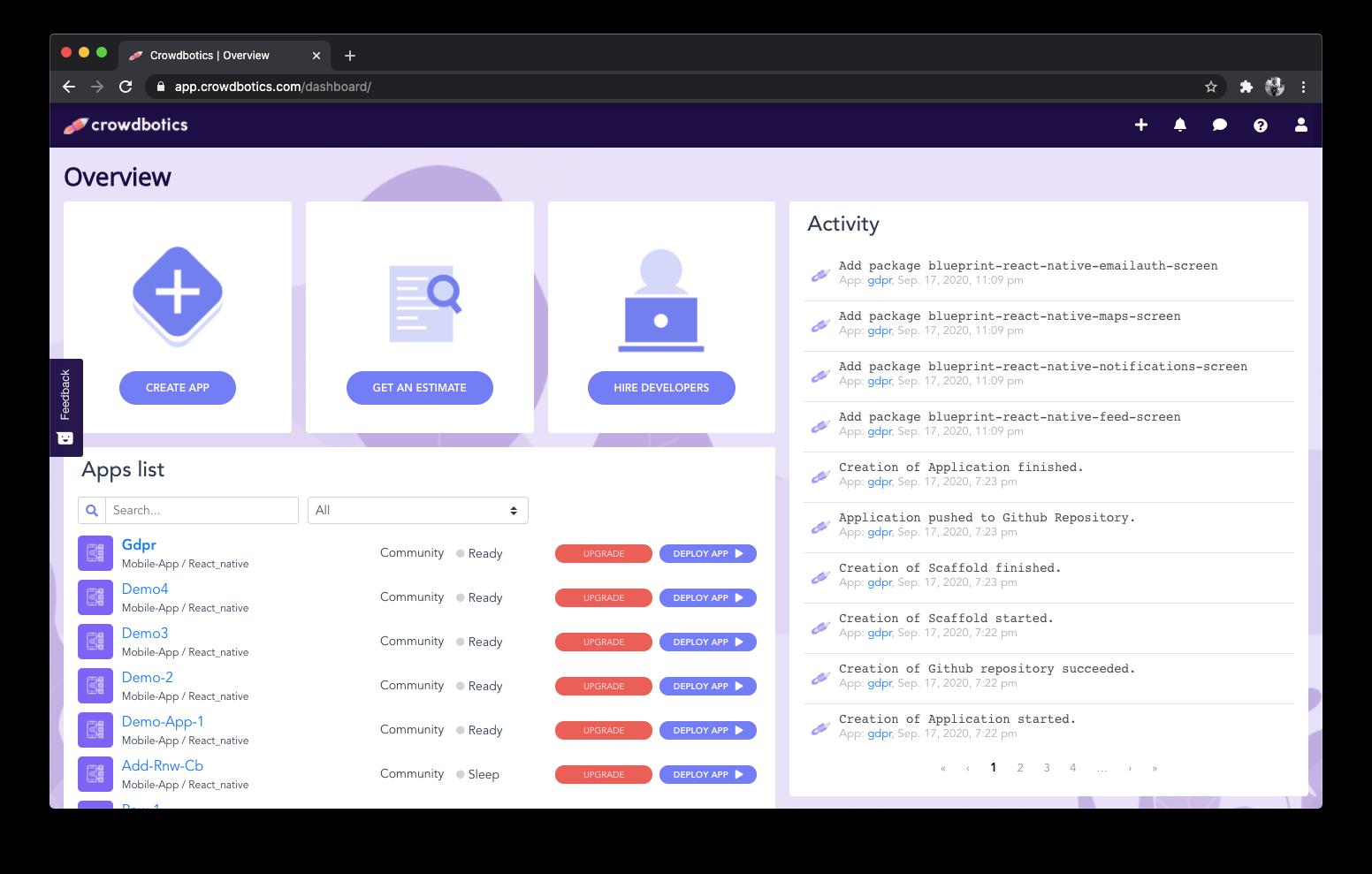 A screenshot of your user dashboard in the Crowdbotics platform.