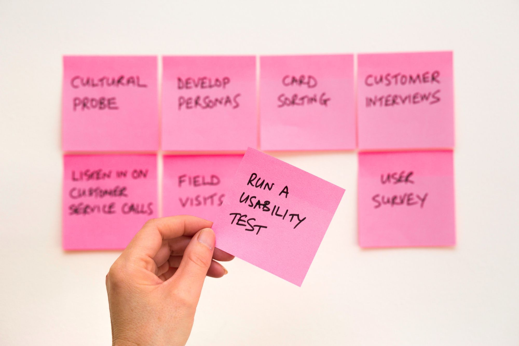 """A person pulling a sticky note that states, """"Run a usability test"""" from a list of eight different tasks."""