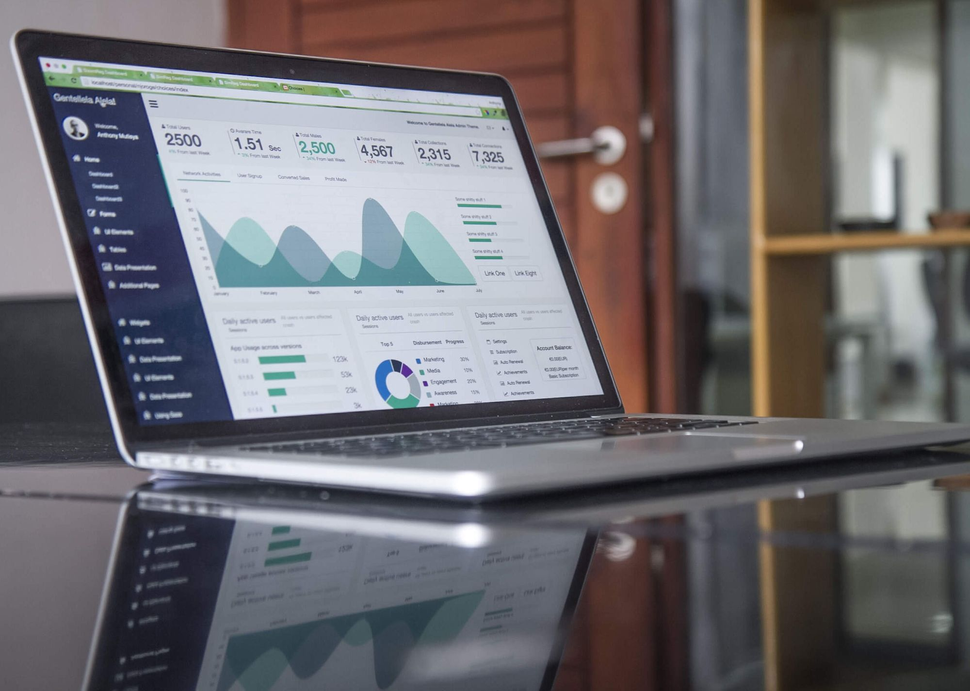 A laptop open to a detailed app dashboard full of useful data and analytics.