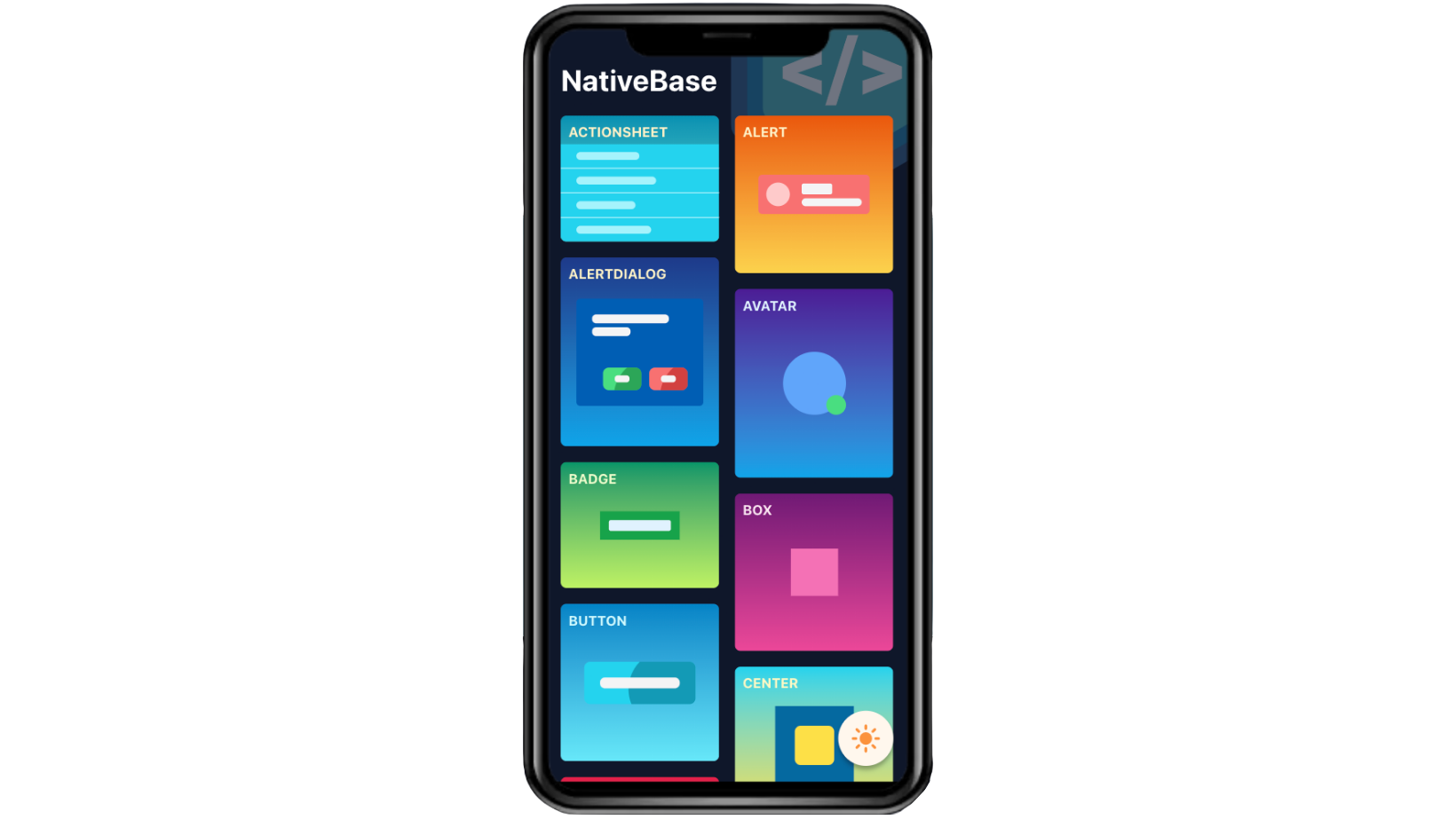 A mockup screen from NativeBase.